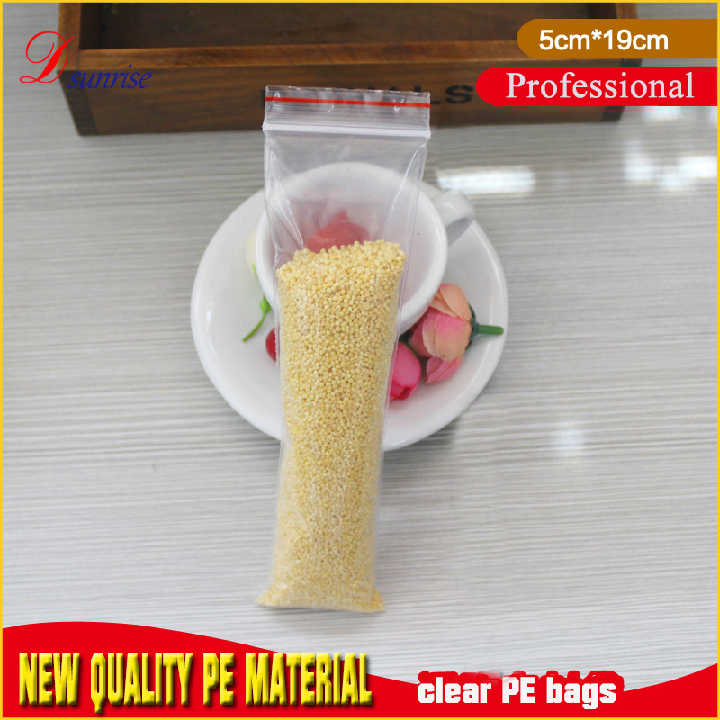 Free shipping 5*19cm transparent plastic bag plastic sleeves for <strong>rice</strong>