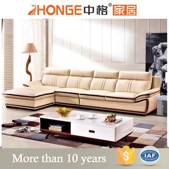 Classical Living Room Furniture L Shaped Beige Cowhide Modern Corner Leather Sofa Bed