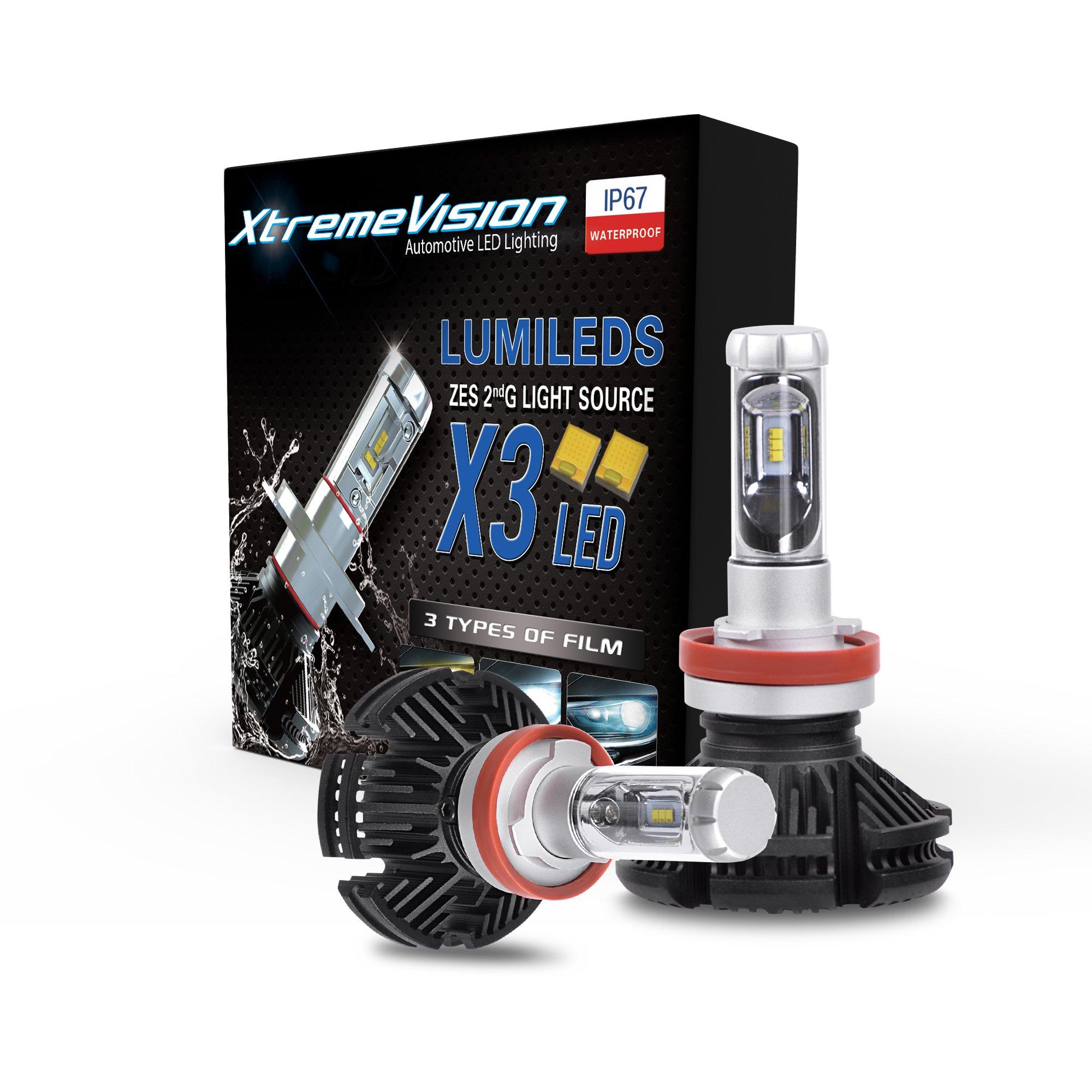 XtremeVision X3 50W 12,000LM - H11 LED Headlight Conversion Kit - 3000K 6500K 8000K PHILIPS ZES LED - 2018 Model