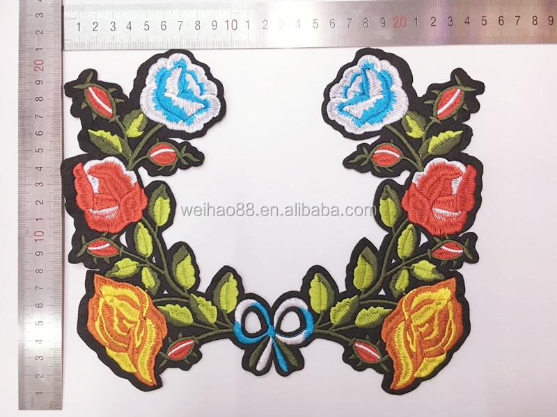 Applique Embroidery Flower Patches,New Design Rose Badges For ...