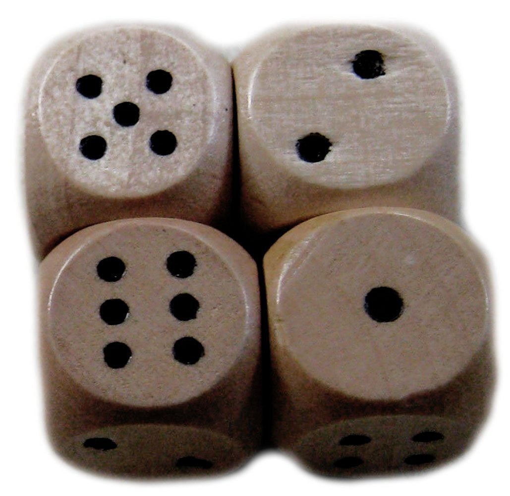 Custom & Unique {Smaller 14mm} 4 Ct Pack Set of 6 Sided [D6] Square Cube Shape Playing & Game Dice Made of Wood w/ Rounded Corner Edges w/ Simple Plain Classy Board Game Design [Brown & Black]