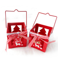 7cm mini red wooden christmas candle holder decorations