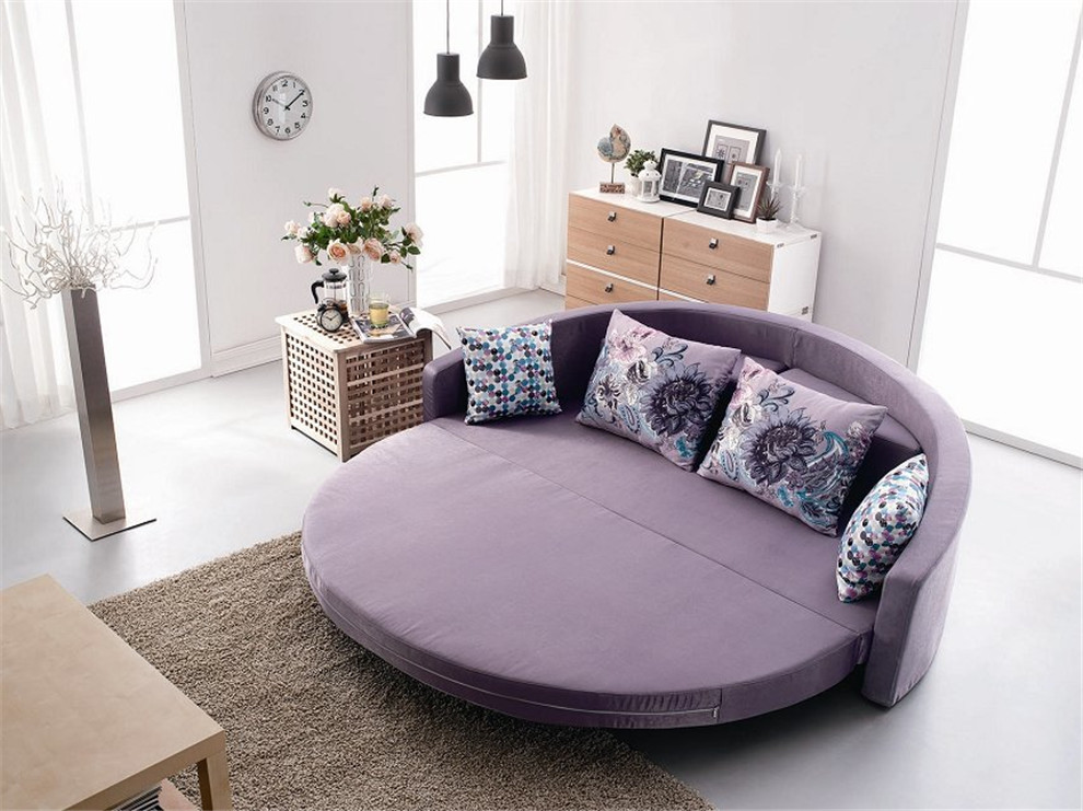 Comfortable Round Sofa Bed With Colorful Cushion Bright ...