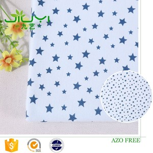 stock wholesale cheap custom blue star print baby 100% pima cotton interlock fabric