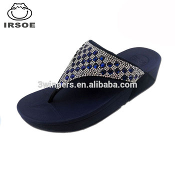 7e2d71be80e Sexy design Women wedge flip flops sandal shoes diamond high heel shoes