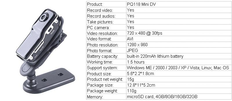 720 X 480 Mini Dv Md80 Digital Camera Car Dvr Mini Dv Md80