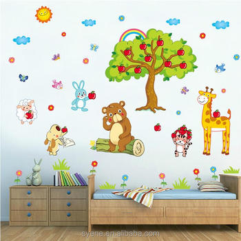 Syene Family Tree Wall Sticker Cartoon Animals Apple Forest Wall Sticker  For Wall Decal Home Decor Part 94