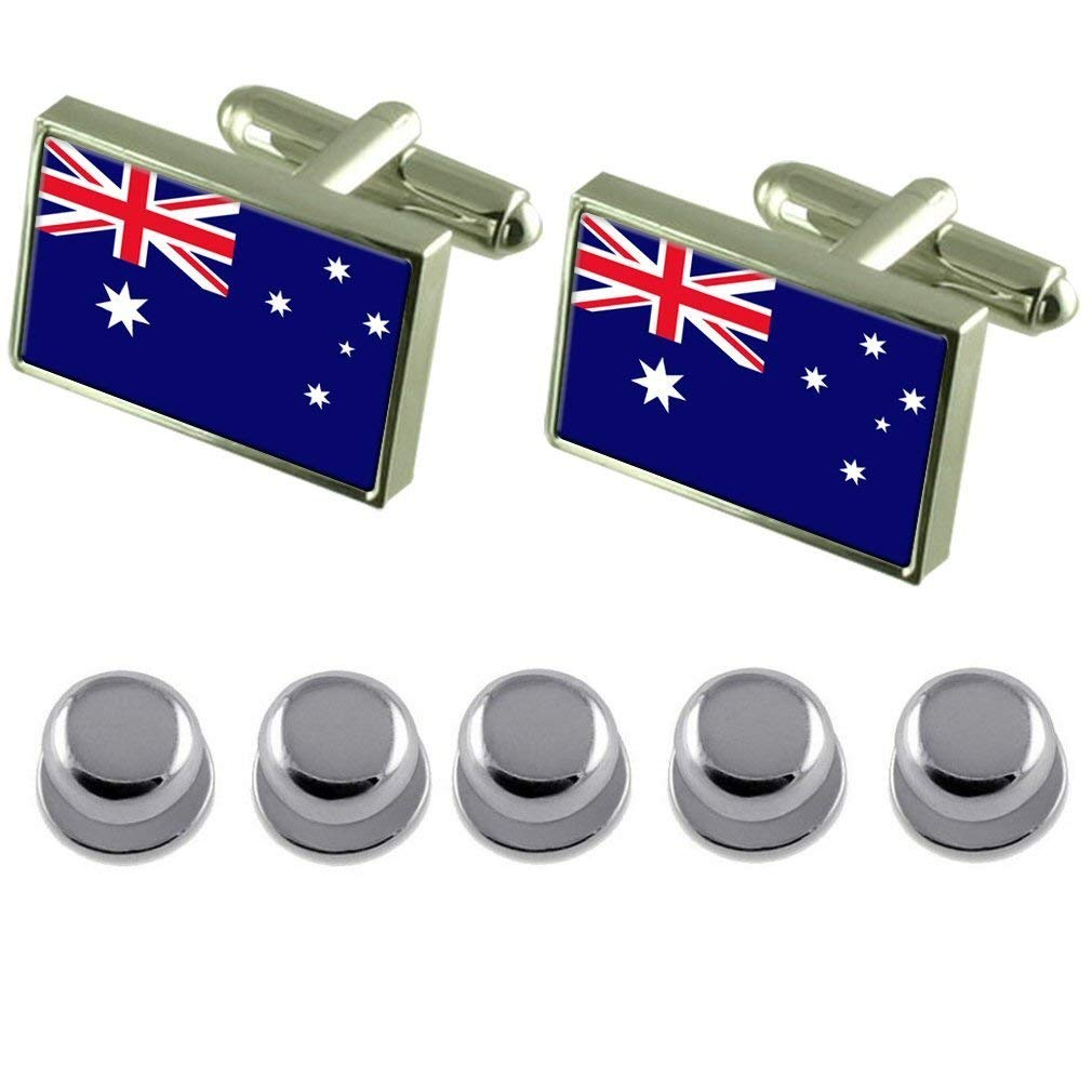 Canberra City Australia Flag Gold-tone Tie Clip Engraved Personalised