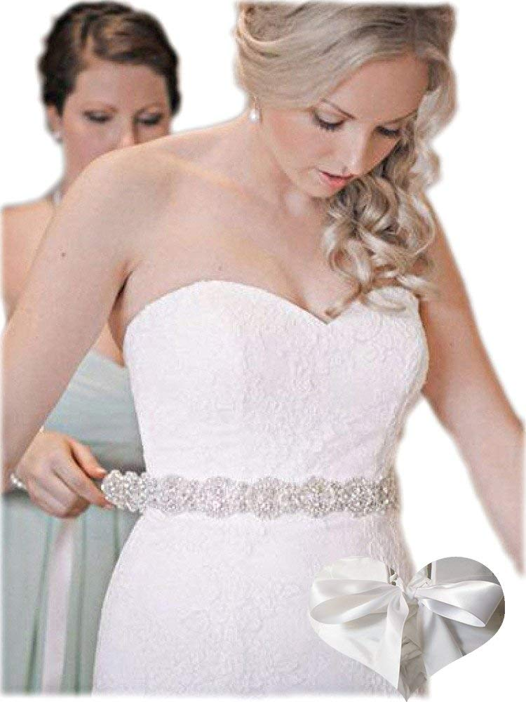 Kunlai Silver Crystal with White Ribbon Bridal Belt Sashes Wedding Dress Sash Belts for Women