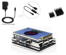 "Raspberry Pi 3 Kit, 5V/2500mA Power Supply Adapter+3.5"" inch LCD TFT 480*320 Touch Screen Monitor +5 Layers Case + Heatsinks"