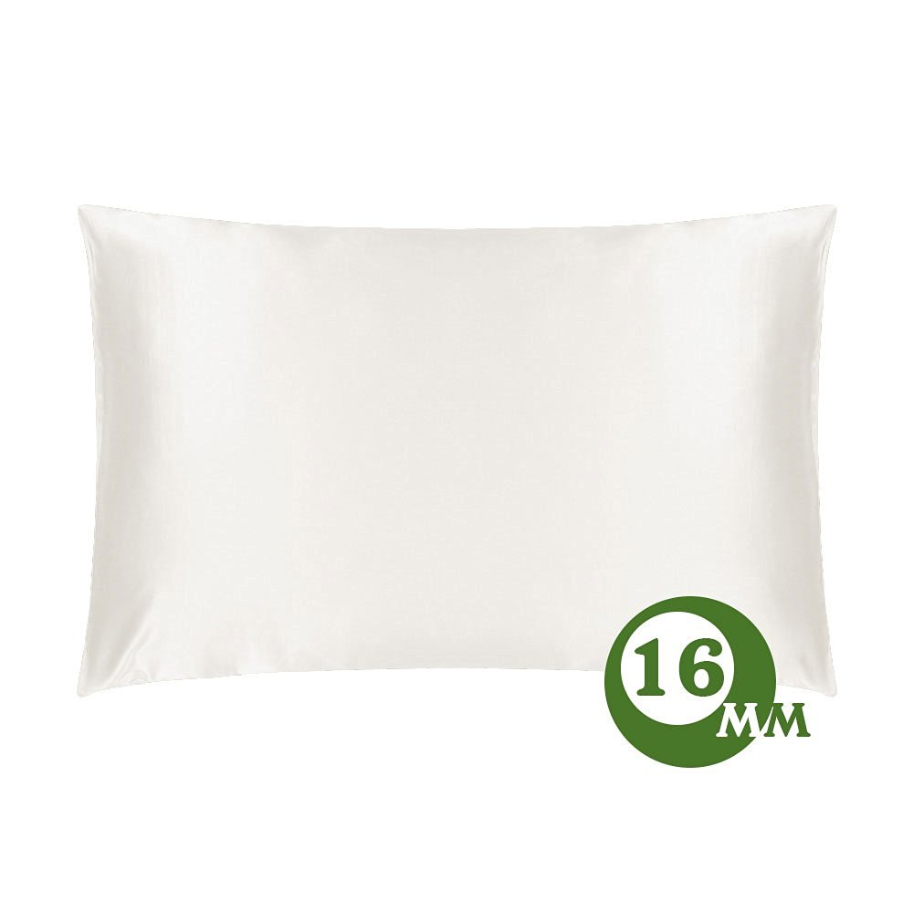 "LILYSILK Silk Pillowcase 100% Pure Mulberry Silk Both Side for Hair Ivory 16 Momme Standard Size 20""x 30"""