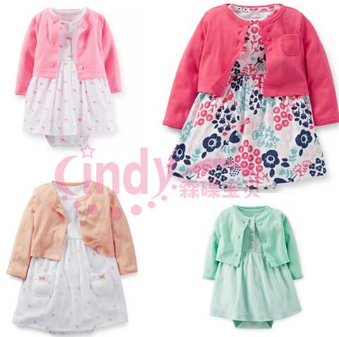 fd01b32d0e28 Get Quotations · Carters Baby Girls 2 Pieces Long Sleeve Cardigan Bodysuit  Dress Set Autumn 100% Cotton 4