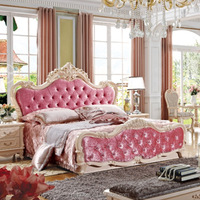 BRAND NEW ANTIQUE FRENCH BED ANTIQUE WHITE AND PINK VELVET FULL SIZE BED