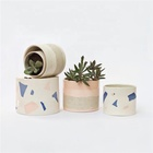 Fancy color antique cylinder home decor ceramic succulents pot / plant pots for indoor outdoor live plants