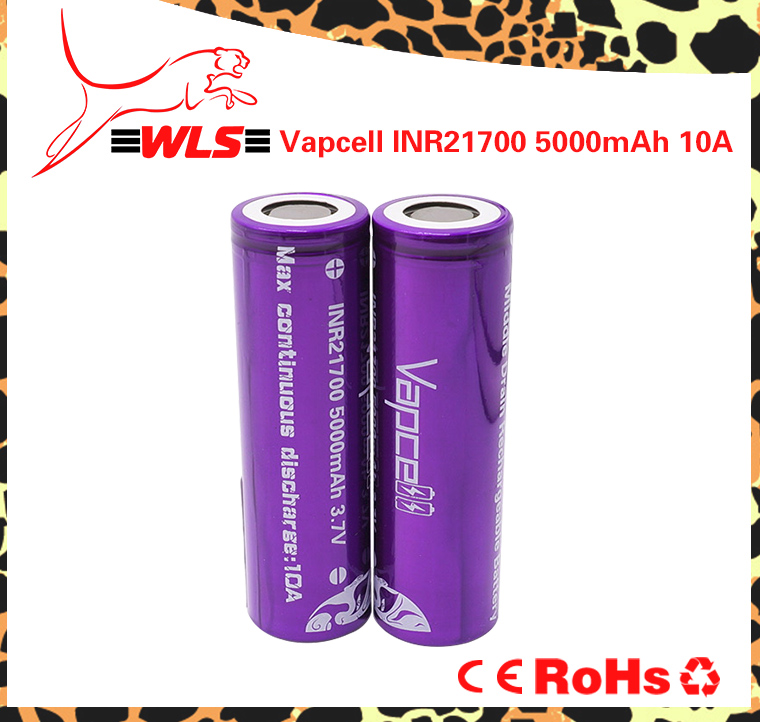 Vapcell 5000mAh 10A li-ion battery inr21700 rechargeable batteries for electric bike/scooter