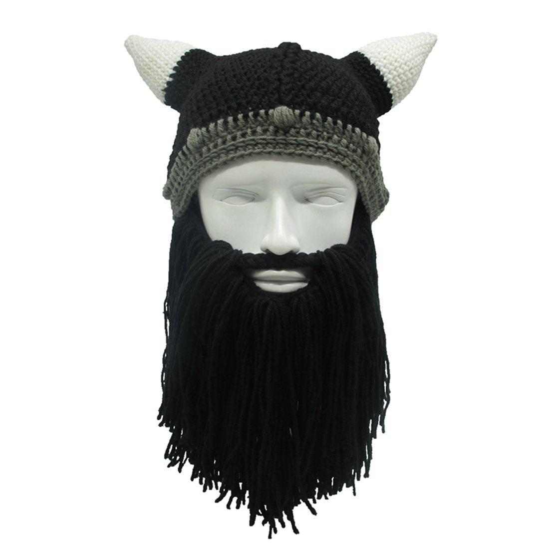 22c431db4e9 Get Quotations · ZGZY Beard Hat Beanie Knit Pirate Original Barbarian  Warrior Knit Beard Hat Halloween Viking Horns Bearded