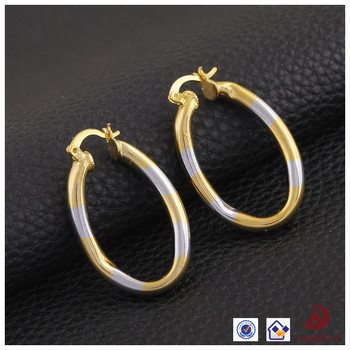 Two Tone 18k Gold Plated Round Shape Simple Design Earrings Hoop Earring