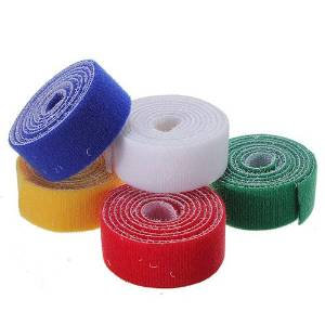 NBellShop 1m 25mm Durable Sticky Self Adhesive Velcro Tape Cable Tie (Random Color)
