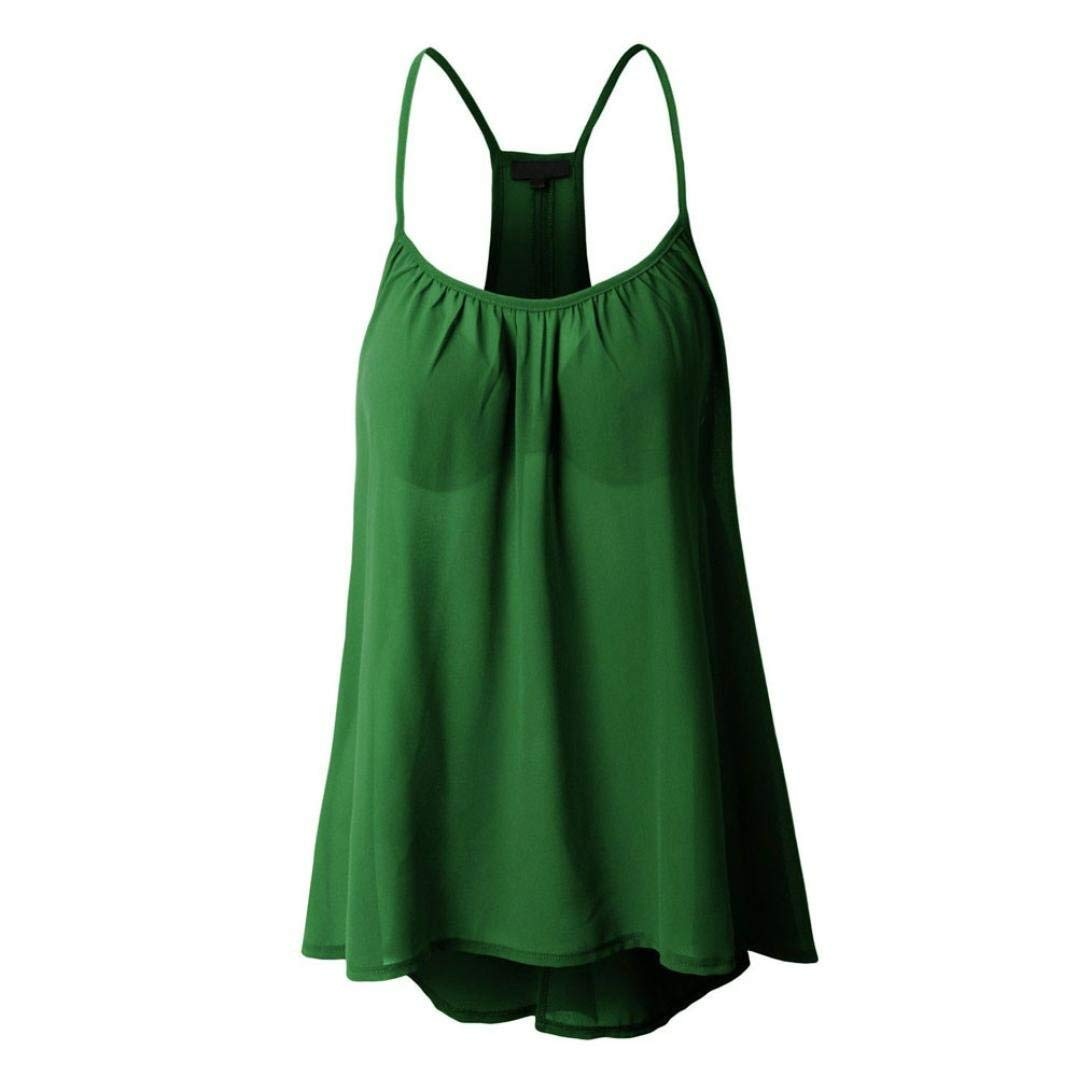 Snowfoller Sexy Sling Vest For Women, Fashion Spaghetti Straps Round Neck Halterneck Tank Crop Tops Sleeveless Chiffon Blouse T-Shirt (XXXXXL, Green)