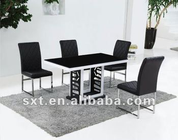 Latest design metal glass top dining table modern