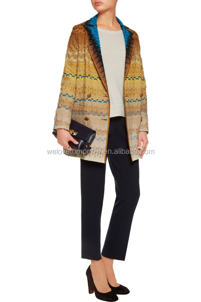 Newest design women front welt pockets quilted printed satin lining crochet-knit jacket