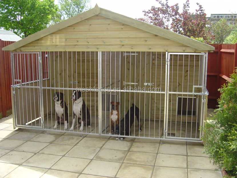 Hot sale cheap triple dog kennel with feed store and solid for Affordable dog kennels