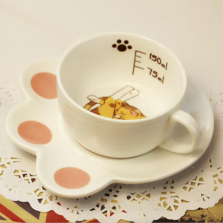 Cute Cartoon Cat Paw Mug Set Creative Catlike Ceramic Mug Coffee Breakfast Milk Water Mug Porcelain Cup And Plates 150ml