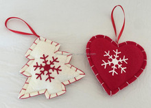 Christmas felt craft heart and tree with snow Decoration XMAS small hanging ornament Gifts