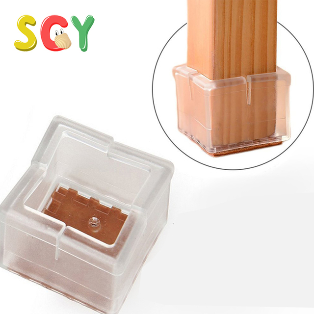 SCY CL001 Chair Leg Wood Floor Protectors Chair Feet Glides Furniture Carpet Saver Silicone Caps with Felt Pads