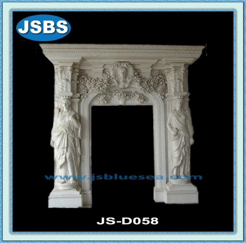 decorativo tallado de mármol blanco de la puerta principal del marco ...
