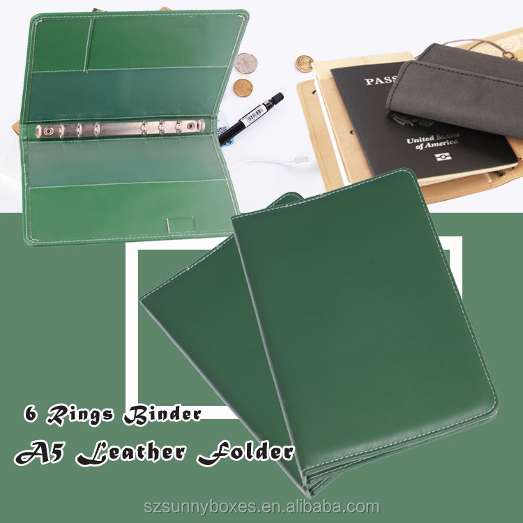 Customized Ring Binder A5 Leather Notebook Like File Folder With Card & Note Pad Holder