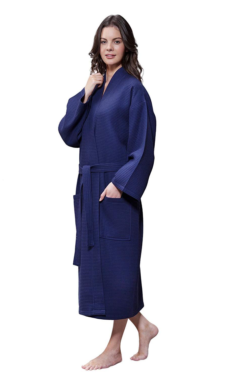 Buy Turquaz Linen Lightweight Long Waffle Kimono Unisex Spa Robe in ... d427f3a7d