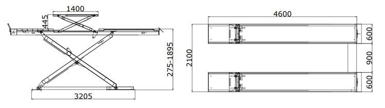 4.5 T maintenance Hydraulique montée ciseaux plate-forme élévatrice de voiture