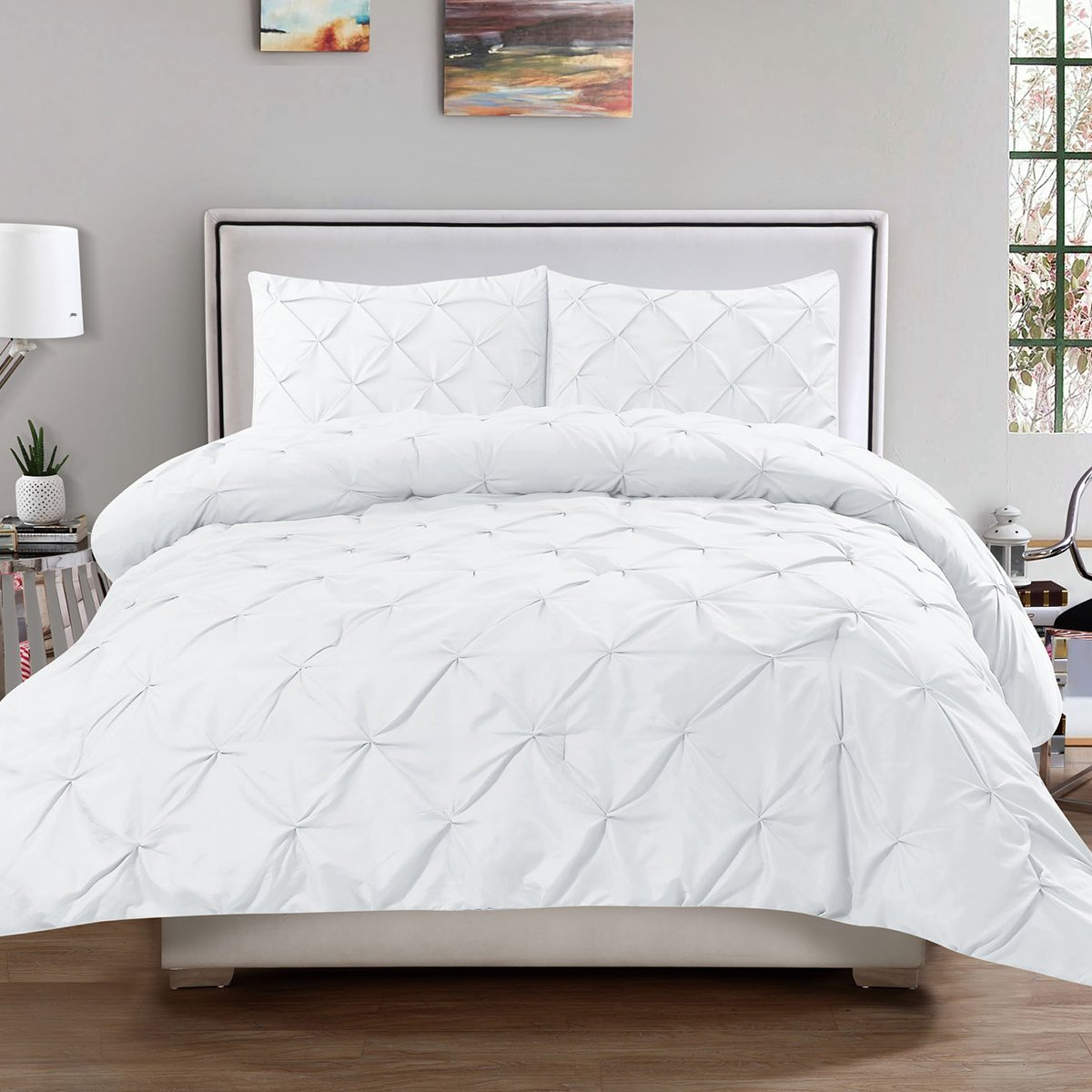 Sweet Home Collection 3 Piece Luxury Pinch Pleat Pintuck Fashion Duvet Set, Queen, White