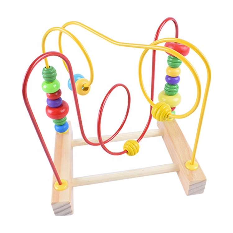 Factory Direct Sales Early Education Children's Puzzle Activity Wooden Double-line Beads Maze Toy Gift