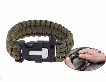 Whistle Gear Flint Fire Starter Cross Paracord Survival Bracelet Bottle Opener