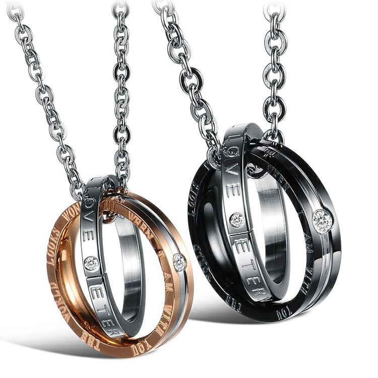Marlary Fashion Custom Engraved Name Couple Love Ring Charm Pendant Necklace Set Rose Gold Necklace Designs