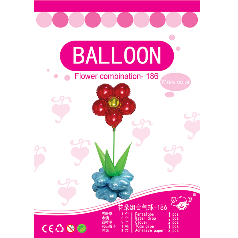 Factory price combination flower metallic colors inflatable stick balloon