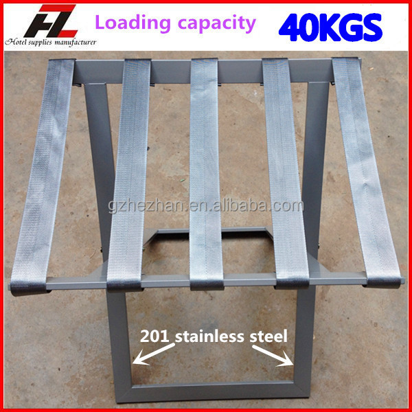 new design folding stainless steel luggage rack in grey for hotels guangzhou metal heavy duty - Stainless Steel Hotel Design