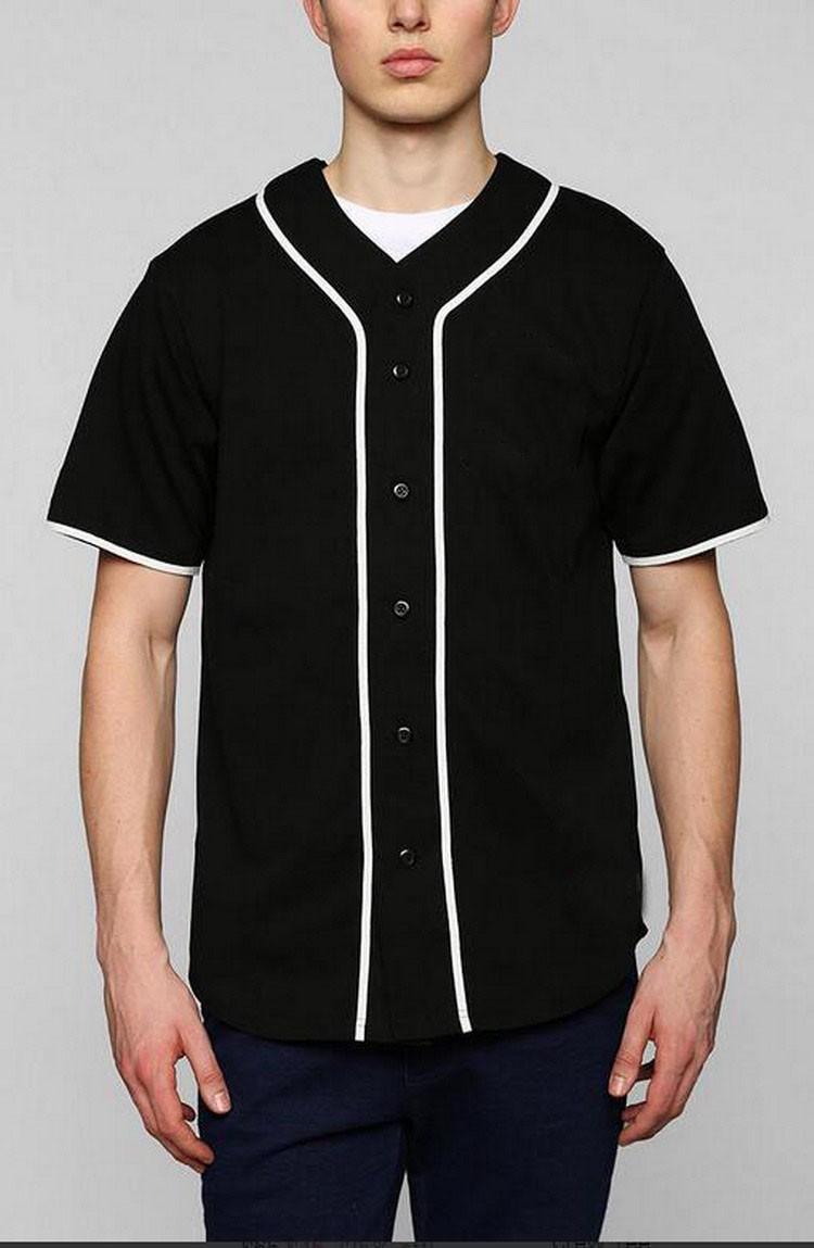 New Design Blank Black Plain Men Baseball Jersey Buy Tee Male Indonesia Slub Hitam M