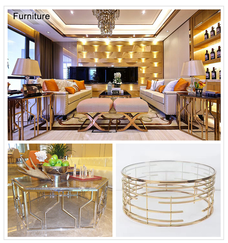 Rose gold stainless steel frame hotel mirror metal frame