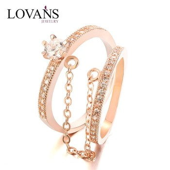 Fashion Latest Gold Ring Designs Double Finger Ring With Chain