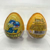 surprise yellow dinosaur design chocolate sweet egg with milk jam and biscuit and toy