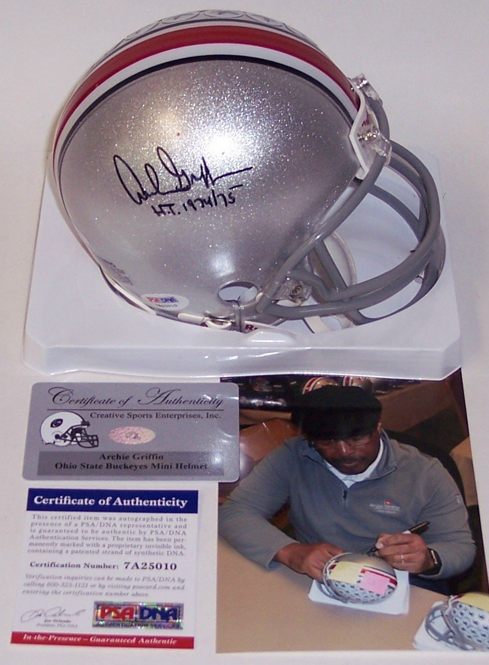 a6e94066022 Get Quotations · Archie Griffin Autographed Hand Signed Ohio State Buckeyes  Mini Football Helmet - with 1974 75
