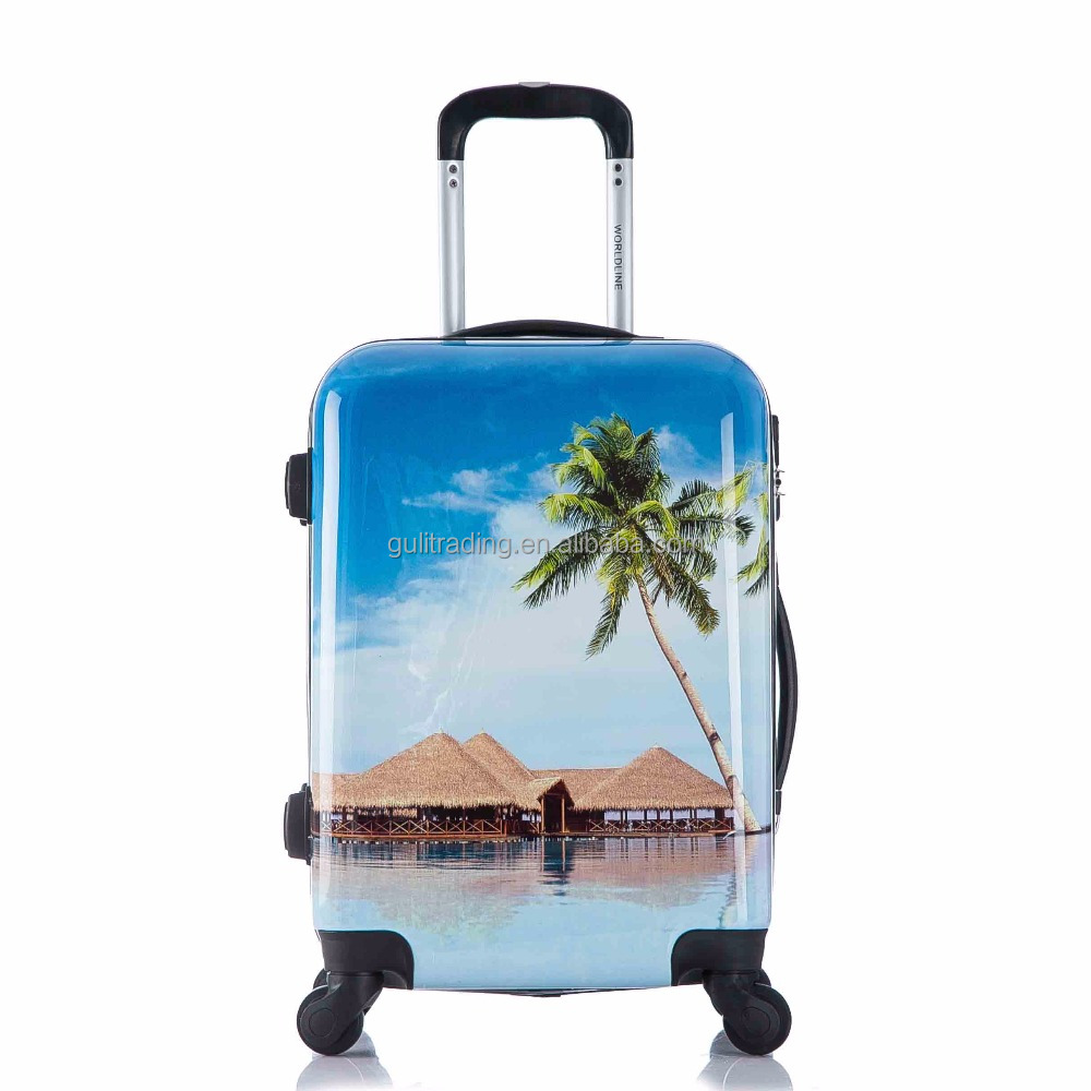 abs pc printing luggage,cabin size trolley suitcase,hot selling luggage