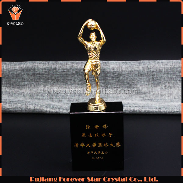 wholesale basketball metal trophy and crystal award for sports