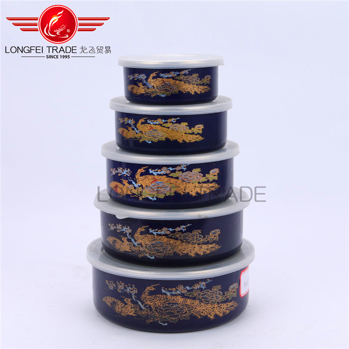 SGS new product 5 pcs enamel / ceramic ice bowl for storage with plastic lid