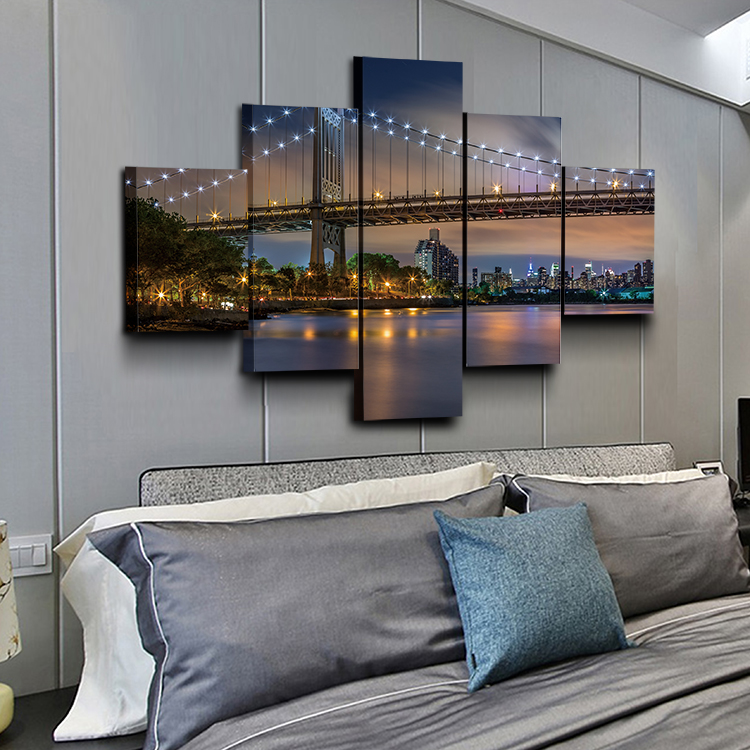 Yiwu factory bridge looking up light HD 5 panel canvas Wall Art Set home decoration