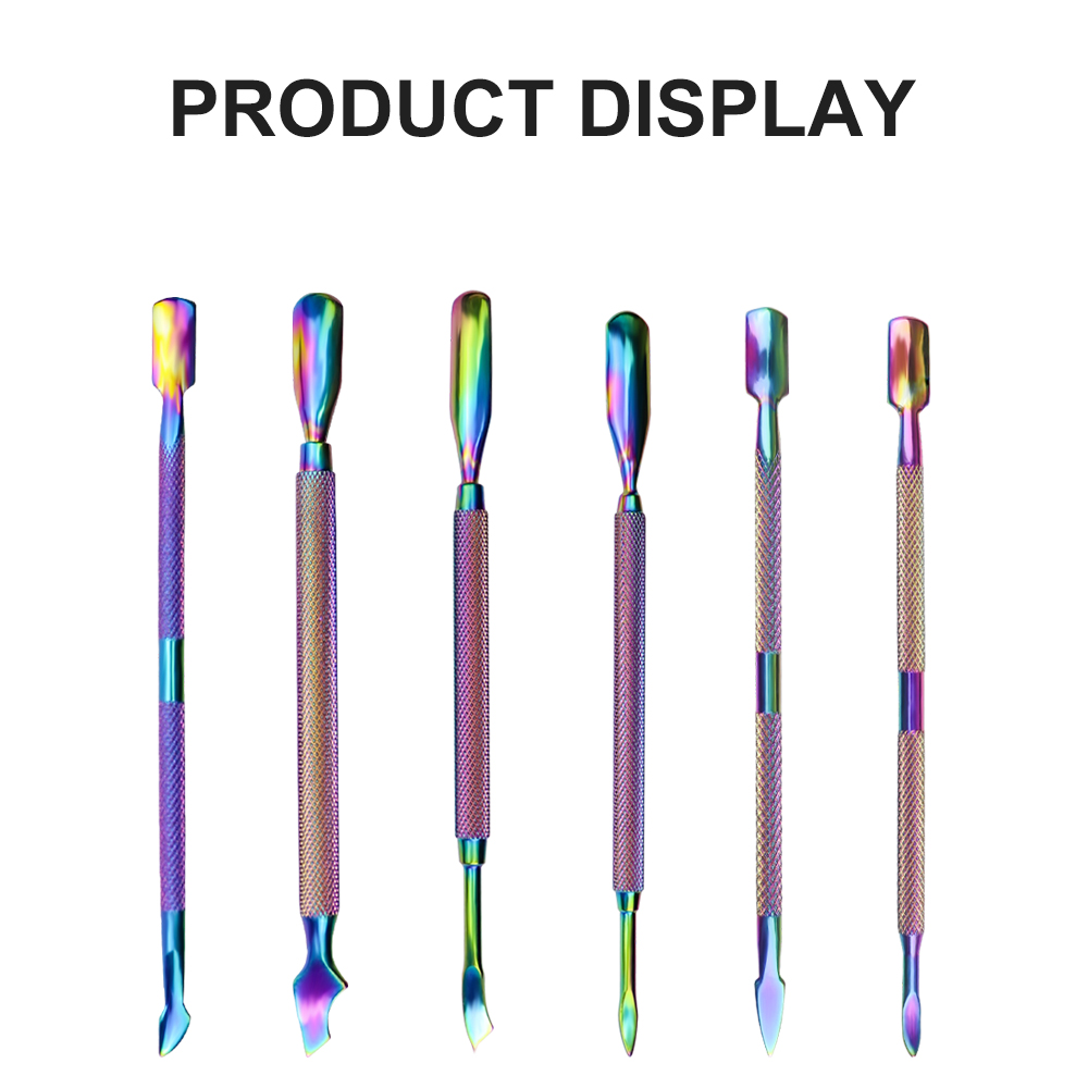 FullHi Rainbow Stainless Steel Nail Cuticle Knives Pusher UV Gel Polish Remover Dead Skin Push Manicure Cleaner Nail Art Tools