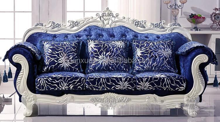 Luxury Living Room Furniture , Royal Elegant , Blue Velvet Sofa Set For Sale
